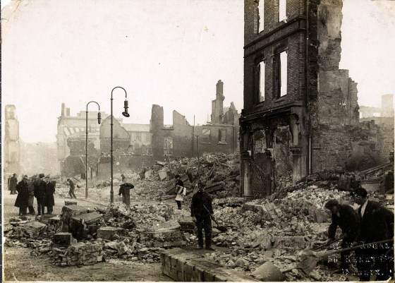 The destruction of Cork. (Image source: WikiCommons)