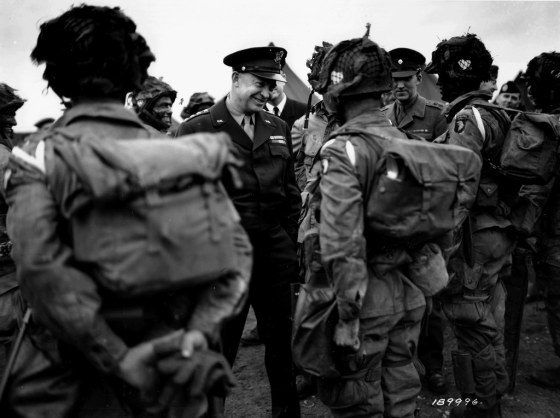 Eisenhower inspects the troops before D-Day. (Image source: U.S. Army)