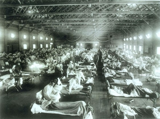 Influenza patients at a stateside army base. The pandemic killed millions after the war. (Image source: WikiCommons)