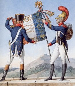 Few French soldiers had uniforms as fancy as these -- most were holed, stained and threadbare after years of use. (Image source: WikiCommons)
