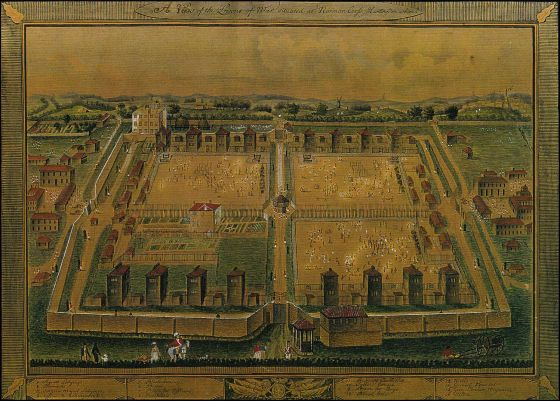 Norman Cross near near Peterborough, Cambridgeshire was the site of a sprawling camp for captured French soldiers. It was history's first POW camp. (Image source: WikiCommons)