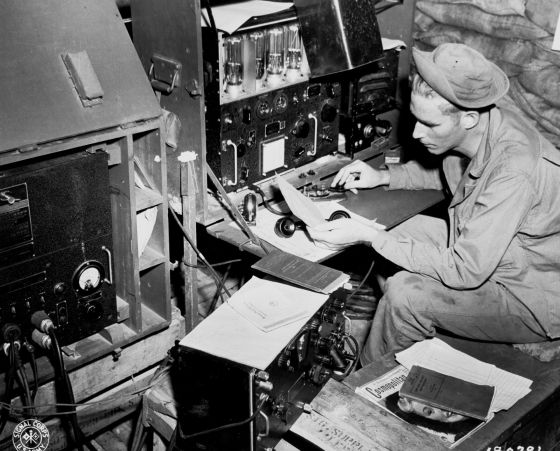 Not all the action in World War Two happened on the battlefield. The U.S. Army Signal Corps took the fight against the Axis to the airwaves. (Image source: WikiCommons)