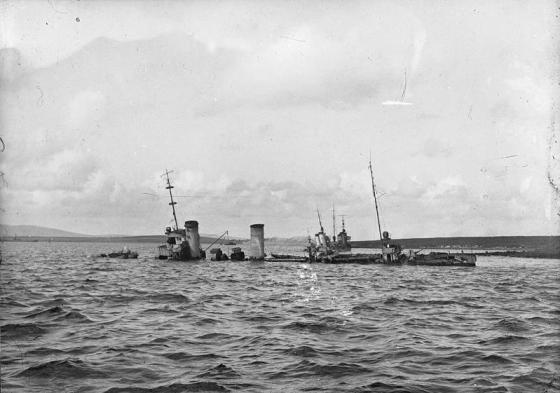 A German cruiser at rest on the bottom of Scapa Flow. (Image source: Imperial War Museums)