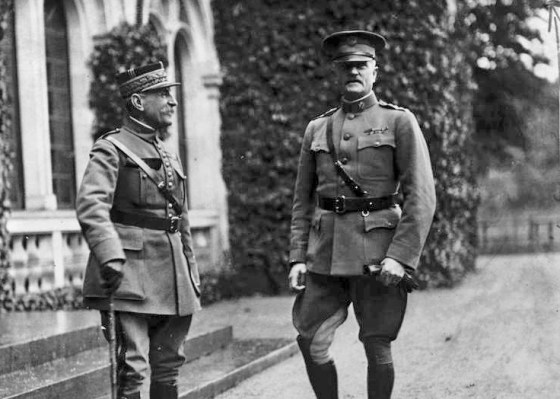Frenemies? Marshal Foch (left) and General Pershing (right).
