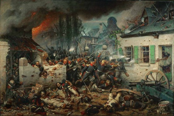 Street fighting at Plancenoit -- Prussian troops attack the rear of the French position at Waterloo in the battle's final frantic minutes. (Image source: WikiCommons)