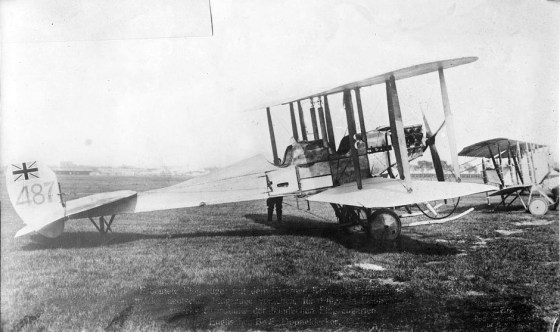 A Royal Aircraft Factory B.E.2a. Not the Union Jack markings on the tail fin. (Image source: WikiCommons)
