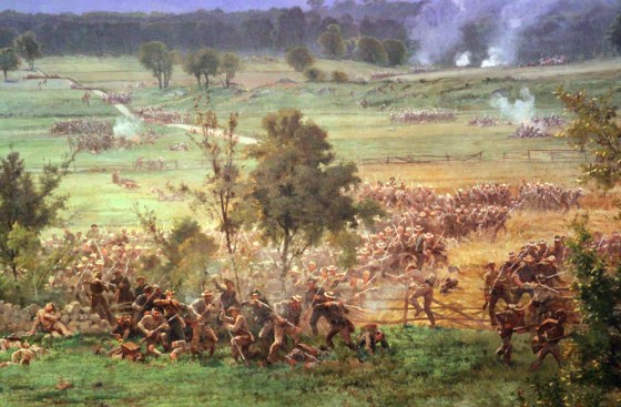 Pickett's Charge as seen on the Gettysburg Cyclorama. (Image source: WikiCommons)