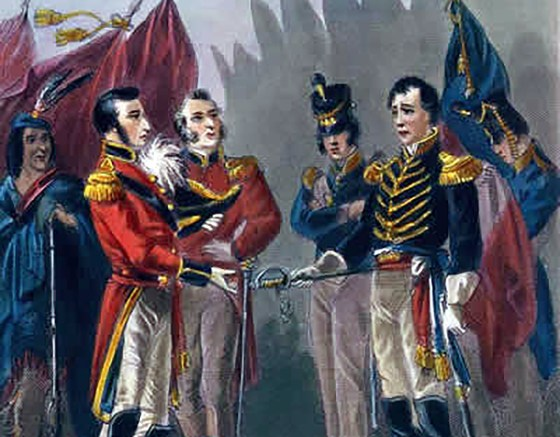 William Hull surrenders Fort Detroit. (Image source: WikiCommons)