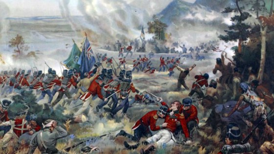 General Brock dies at the Battle of Queenston Heights. (Image source: WikiCommons)