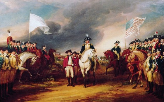 George Washington accepts the English surrender at Yorktown. The War of 1812 sprung from lingering resentment between Britain and America held over from the Revolution. (Image source: WikiCommons)