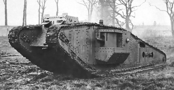 A British Mark IV tank of World War One. (Image source: Wiki Commons)