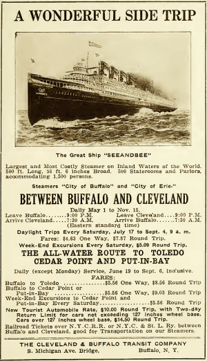 Thousands of travellers cruised between Buffalo and Chicago in style aboard the SS Seeandbee. (Image source: WikiCommons)