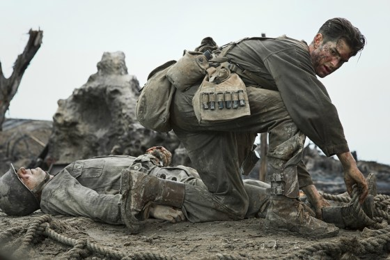 Andrew Garfield plays WW2 conscientious objector Desmond Doss in Mel Gibson's Hacksaw Ridge. (Image source: Lionsgate Films)