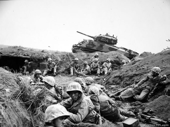 Within three years of the fateful football game, players from Oregon and Duke would be fighting their way across Iwo Jima. (Image source: WikiCommons)