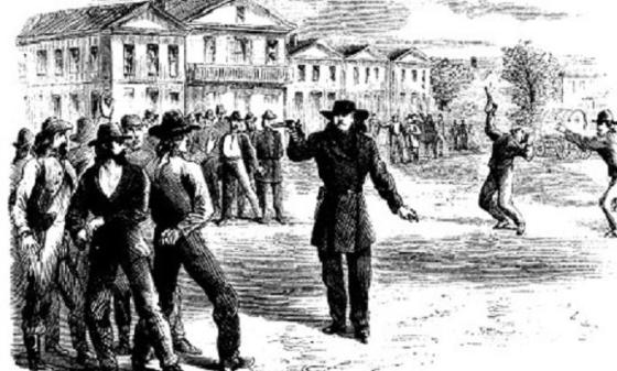 By the mid-19th Century duelling became universally rejected. Only outlaws and gunslingers on the margins of society indulged in what was by that time seen as a savage practice. Image source: WikiCommons)
