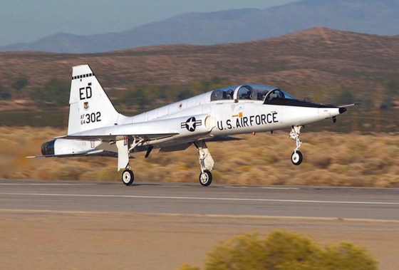 A T-38 Talon takes off at Edward's Air Force Base. (U.S. Air Force photo by Chad Bellay)