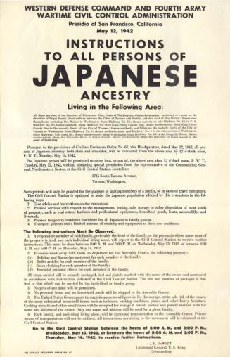 A notice to Japanese Americans living in California. (Image source: WikiCommons)