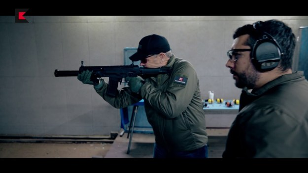 Larry Vickers shooting AMB-17 suppressed assault rifle