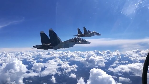 Su-30SM aircraft launch missiles and drop bombs