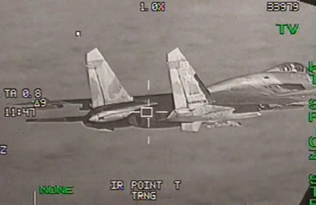 Belgian F-16 Fighting Falcon intercepted Russian Su-27 Flanker