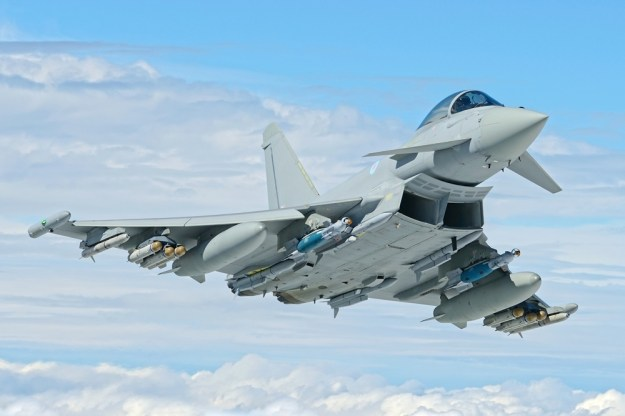British Quick Reaction Alert Typhoon fighter flies with Meteor BVRAAM air-to-air missiles for first time