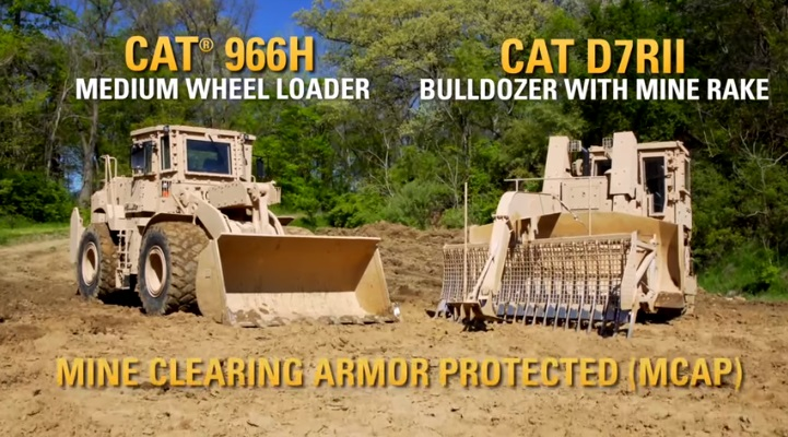 Cat Armored 966H and D7RII Mine Clearing Armour Protection (MCAP)