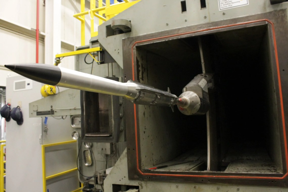 Raytheon engineers recently completed wind tunnel testing on a new, extended-range variant of the AMRAAM® air-to-air missile. Testing is a key step in qualifying the missile for the NASAMS launch system.