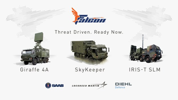 The Falcon Weapon System comprises the Saab Giraffe 4A multifunction radar, the Lockheed Martin SkyKeeper battle management system, and the Diehl Defence IRIS-T-SLM effector and launcher.