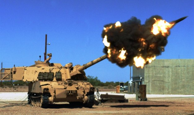Yuma Test Center's Ground Combat Systems test-fires a M109A6 Paladin