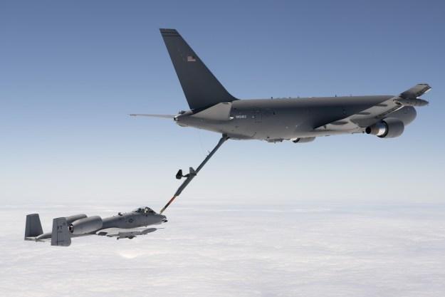 Boeing KC-46A refuels an A-10 Thunderbolt II