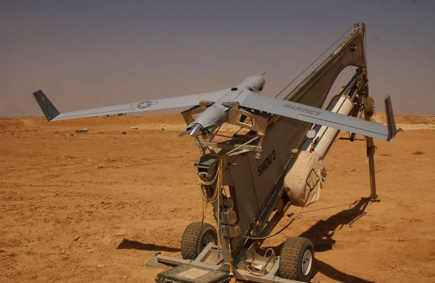 A Boeing Insitu ScanEagle UAVs in its catapult launcher
