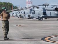 Helicopters Evacuate Naval Station Mayport Ahead of Hurricane Dorian