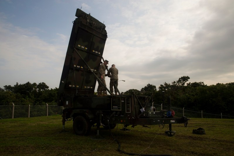 U.S. Marines with Marine Air Control Squadron 4, Marine Aircraft Group 36 set up the AN/TPS-80 G/ATOR radar system on Marine Corps Air Station Futenma, Okinawa, Japan, Feb. 26, 2019. MACS-4 Marines train to effectively assemble and operate the G/ATOR, the first of its kind to be used in the Indo-Pacific region. (U.S. Marine Corps photo by Lance Cpl. Leo Amaro)