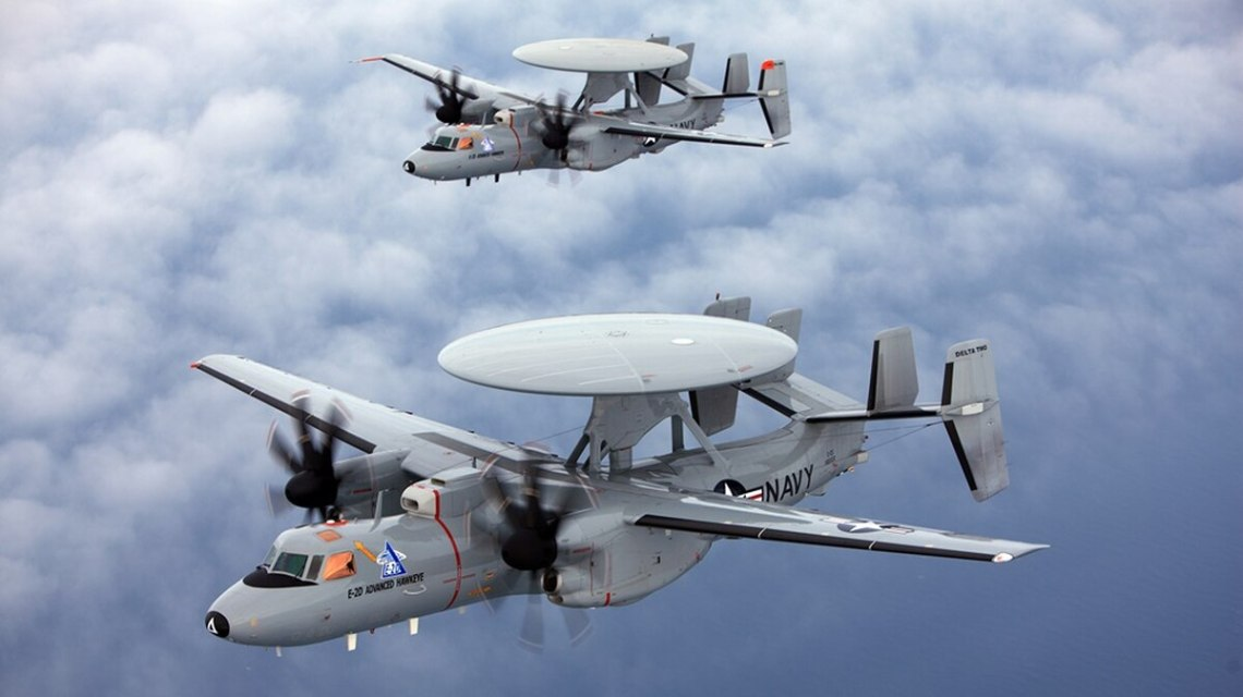 The E-2D Hawkeye is an early warning aircraft but also a node in an advanced airborne network that links U.S. Navy ships and aircraft together. The service is looking to build on its existing networks to create something that can link its assets with the Air Force and survive in a denied electronic warfare environment. (Courtesy of Rockwell Collins)