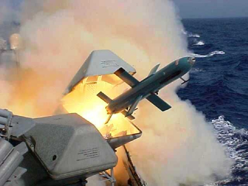 Gabriel Missile being shot from Israeli Navy Sa'ar 4 Class Missile boat.