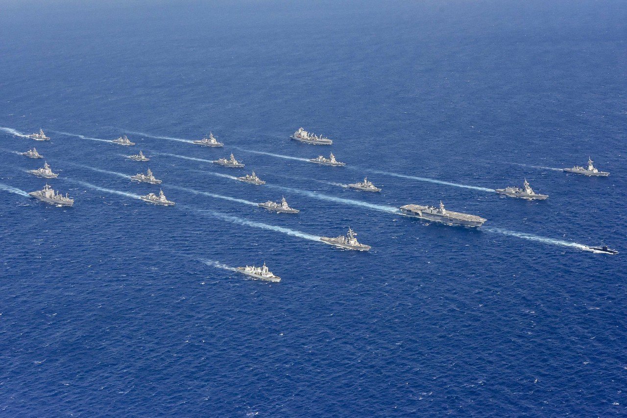 PHILIPPINE SEA (Nov. 11, 2019) Ships from the U.S. Navy, Japan Maritime Self-Defense Force, Royal Australian Navy, and Royal Canadian Navy sail in formation during Annual Exercise (ANNUALEX) 19. ANNUALEX 19 is an annual, bilateral exercise which further develops coordination and interoperability of the premier alliance between the U.S. Navy and JMSDF. (Photo courtesy of Japan Maritime Self-Defense Force)