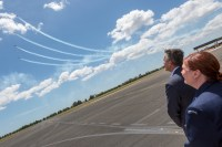 Minister for Veterans and Defence Personnel, the Hon. Darren Chester MP (r), and Air Vice-Marshal Catherine Roberts, Head of Air Force Capability watch the new Pilatus PC-21 roulettes perform a display over RAAF Base East Sale.