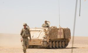 U.S. Army medics with the 68th Armor Regiment, 3rd Armored Brigade Combat Team, 4th Infantry Division maneuver an M113 Armored Personnel Carrier toward a Role 1 medical tent area in Amman, Jordan, Aug. 27, 2019, during Exercise Eager Lion 2019. (Picture source U.S. DoD)