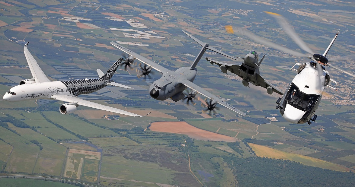 A350 XWB, A400M, H160 and Eurofighter together for a great achievement: a unique Airbus Family Flight