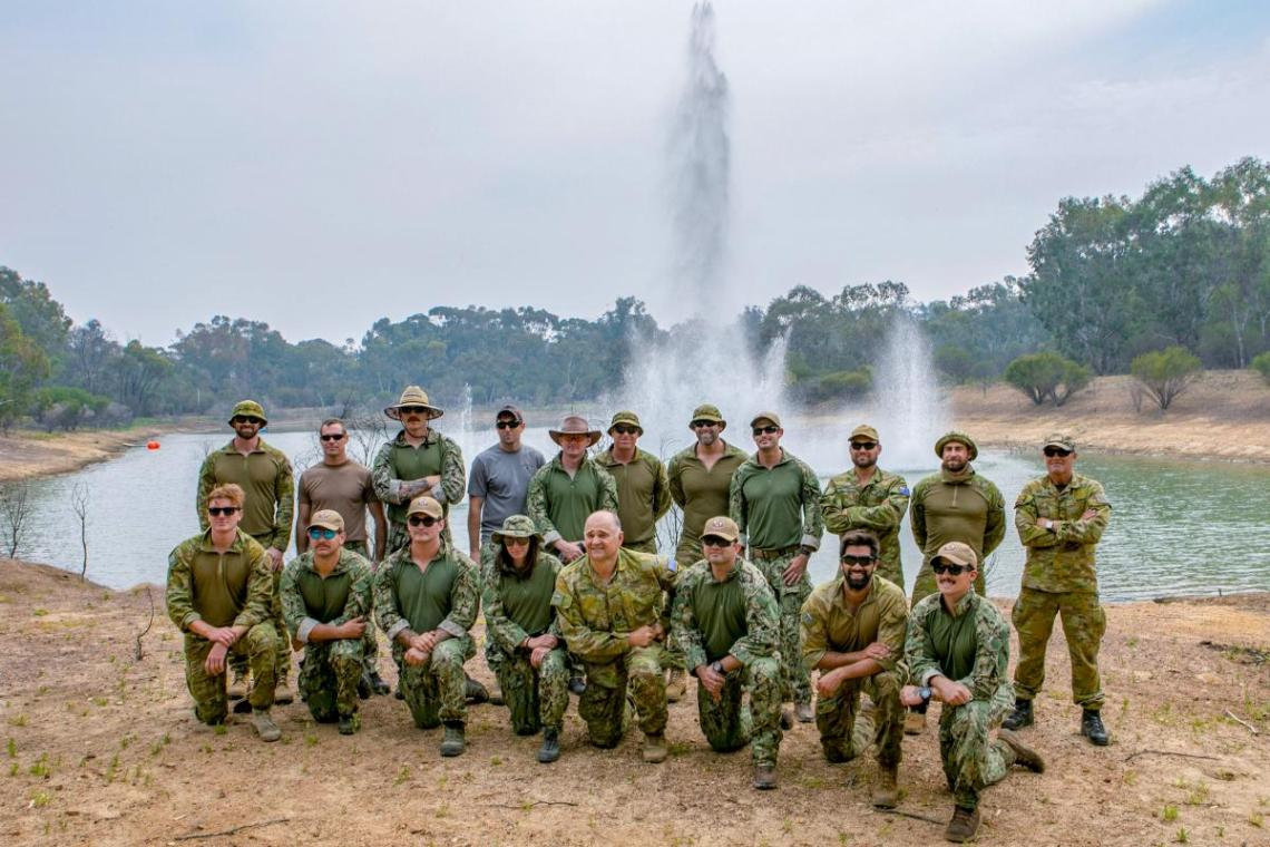 Defence personnel from Australia, the United States and New Zealand take part in a live underwater demolition exercise at Bindoon Military Training Area in Western Australia as part of Exercise Dugong. Photo: Leading Seaman Ernesto Sanchez