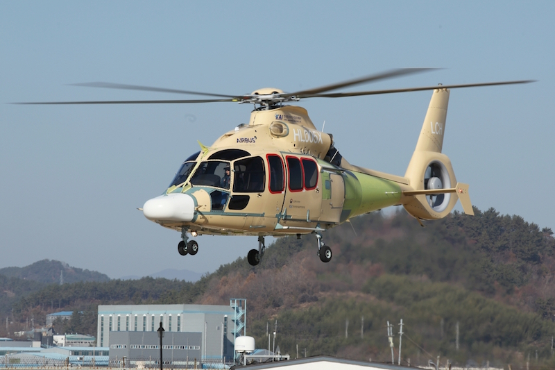 Korea Aerospace Industries has developed the Light Armed Helicopter from the Airbus Dauphin light twin-engined helicopter, and has now flown the prototype of its commercial version, known as the Light Civil Helicopter. (KAI photo)