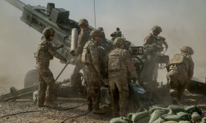 In support of the Iraqi Security Forces (ISF), U.S. Army soldiers assigned to the 2nd Battalion, 8th Field Artillery Regiment, 1st Brigade Combat Team, 25th Infantry Division, prepare to fire their M777 towed 155 mm Howitzer at Qayyarah West Airfield, Iraq, September 10, 2019. Soldiers conduct a fire mission to disrupt known enemy positions on Qanus Island, Iraq. As long as Daesh still poses a danger to the security of Iraq and northeast Syria, the Government of Iraq and ISF partners, supported by Combined Joint Task Force-Operation Inherent Resolve, will continue to strike and ensure the military defeat of Daesh. (U.S. Army photo by Spc. Kahlil Dash)