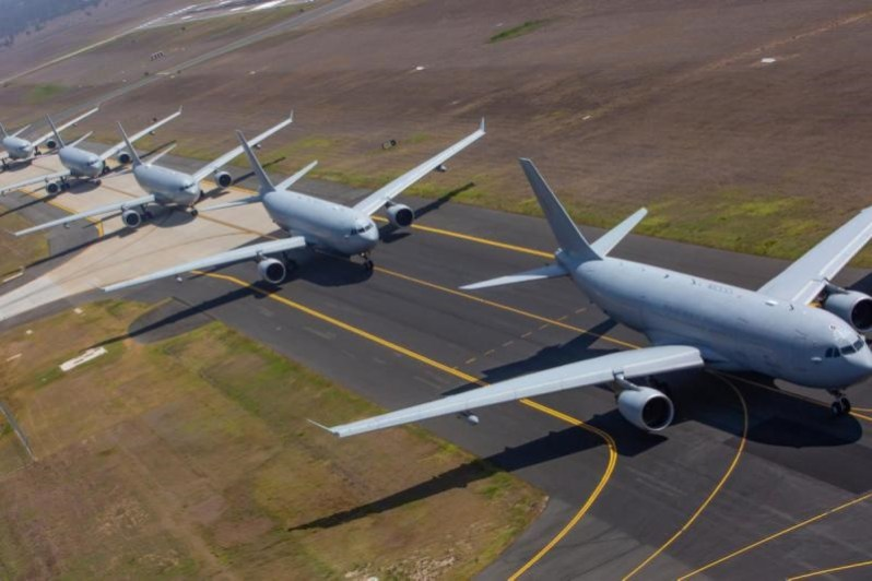 The Royal Australian Air Force has claimed a world 'first' for an 'elephant walk' carried out on Nov. 15 by five of its seven Airbus A330 MRTT tanker aircraft at RAAF Base Amberley. (RAAF photo)