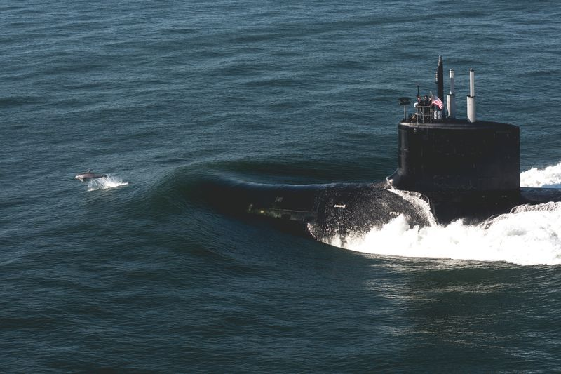 The Virginia-class submarine Delaware (SSN 791) sails the open waters after departing Huntington Ingalls Industries' Newport News Shipbuilding division during sea trials in August. Photo by Ashley Cowan/HII.
