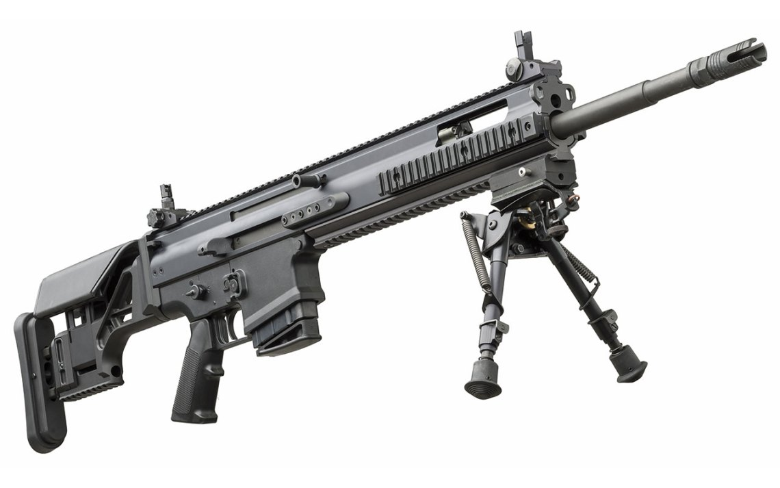 FN SCAR-H PR precision rifle in 7.62x51 mm NATO caliber with fixed buttstock