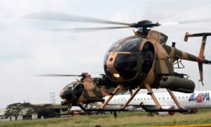 Kenya Defence Forces pilots conduct a fly test of the six MD-530F helicopters purchased through the United States Foreign Military Sales (FMS) Program.