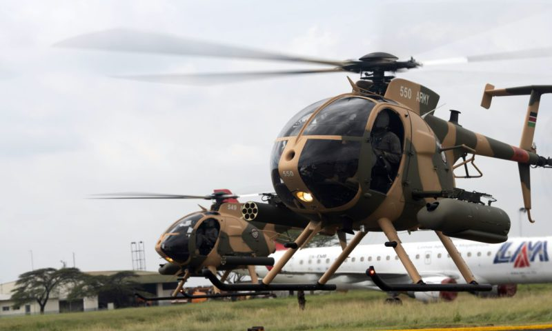 Kenya Defence Forces pilots conduct a fly test of the six MD-530F MD 530F Cayuse Warrior helicopters purchased through the United States Foreign Military Sales (FMS) Program.