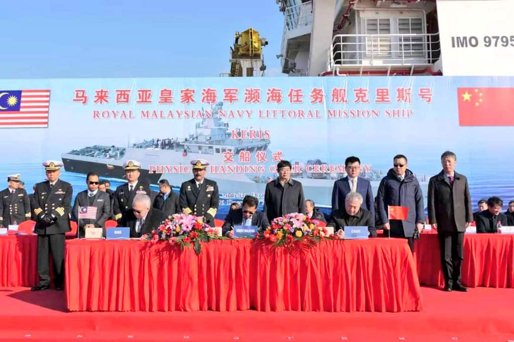 Malaysia's first LMS is seen here before its launch at Wuhan, China, in April 2019. The warship was handed over to the RMN on 31 December in a ceremony held at Qidong near Shanghai.