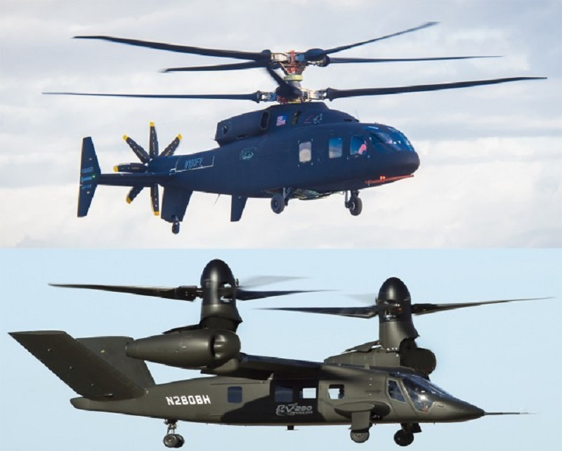 Two JMR technology demonstrators for US Army Future Long-Range Reconnaissance Aircraft, but neither the Sikorsky-Boeing SB-1 Defiant (top) or the Bell V-280 Valor is the final design for the FLRAA.