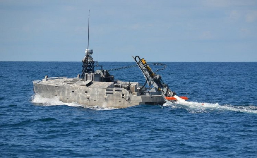 The AQS-24B minehunter being deployed from the Mine Countermeasures Unmanned Surface Vessel (MCM USV).